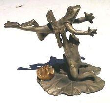 Vtg  frog  figurines Ballet pas Dancers Ballerina,1993 De deux Pewter by sPI