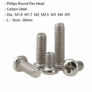 M1.4 M2 M2.5 M3 M4 M5 Round Head Machine Screws Nickel Phillips Head Bolts Pozi
