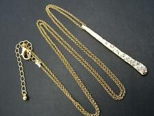 """$18 Nordstrom Clear Rhinestone Bar Hammered Pendant Necklace Goldtone Chain 34"""""""