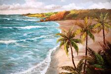 "100% handmade Oil Painting Hawaii beach view on Canvas 24""x36"" L30"