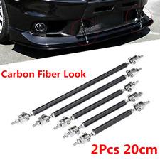 2pcs Carbon Fiber Look Car Front Bumper Adjustable Lip Splitter Strut Tie Bar