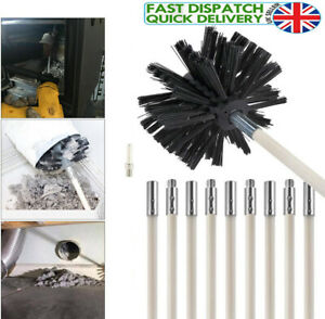 Flexible Chimney Sweep Set Flue Sweeping Brush & Rod Kit Soot Cleaning Rods New