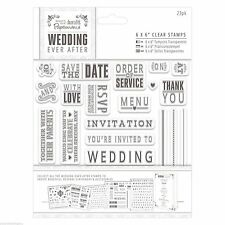 """Papermania 8"""" x 8"""" Clear Stamps - Wedding Invite, Invitation, Save the Date"""