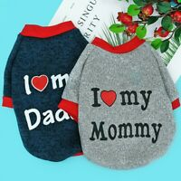 X Small Dog Sweaters Cat Clothes Pet Puppy Jumper Chihuahua I Love Mummy/Daddy