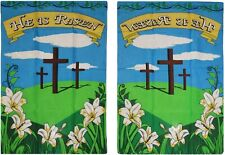 2x3 Easter Crosses He Has Risen Christ Sleeved Garden Flag 28x40