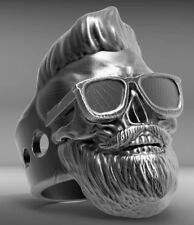 Bearded hipster with glasses Skull Mens Biker Ring oxidized 925 Sterling silver