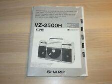 SHARP VZ-2500H OPERATION MANUAL ANLEITUNG GHETTOBLASTER