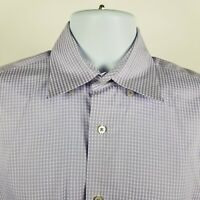 Robert Talbott Carmel Purple Gingham Check Mens L/S Dress Button Shirt Sz Medium