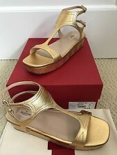 NIB Auth Valentino Gold Leather Embroidered Platform Wedge Sandals Sz 40 10 $995