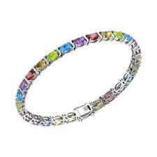 Sterling Silver 10.84 CTTW Multi Gemstone Tennis Bracelet for Women