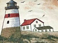 "Vintage Reversible Nautical Lighthouse Beach Biederlack Blanket Throw 56"" X 46"""