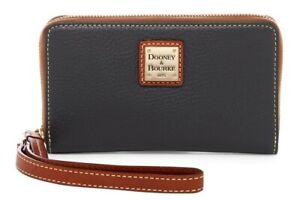 Dooney & Bourke ZR102 Pebble Grain Zip Around Phone Wristlet BLACK NWT $128