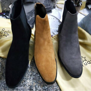 Men's Ankle Boots Suede Chukka Chelsea Flat Boots Formal Casual High Top Shoes