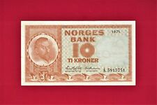 SCARCE 10 TI KRONER (1971 - 1973) NORWAY NORGES BANK - (P-31f.1) - BETTER GRADE