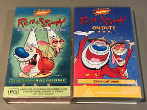 Ren & Stimpy Incredibly Stupid Stories & On Duty VHS Tapes Nickelodeon Rare