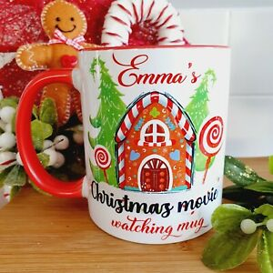 PERSONALISED Christmas Movie Watching Mug - Red & White 11oz - Gingerbread House