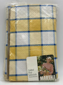 """VTG Martha Stewart Everyday Quilted Vinyl Tablecloth Flannel 60x84"""" Oblong New"""