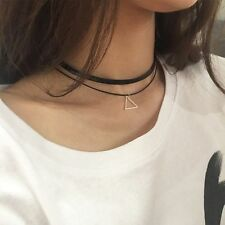 Women Punk Triangle Charm Black Leather Choker Necklace Wedding Gothic 2-layers