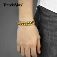 15mm MENS Chain 316L Stainless Steel 15mm Silver/Gold Curb Cuban Link Bracelet