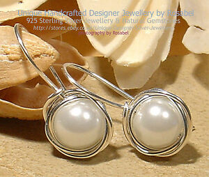 White Pearls Sterling Silver 925 Earrings Handmade  #0717-1