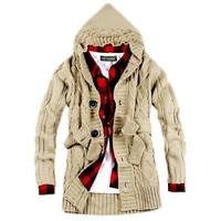 Trendy Men Knitted Hooded Cardigan Sweaters Knitwear Casual Sweater Coat Jacket