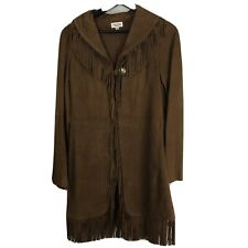 TASHA POLIZZI Womens Jacket S Fringe Brown Genuine Suede Leather Small