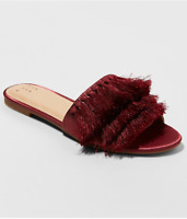 *A New Day Women's Benetta Tassle Slide Slip-On Sandals, Burgundy