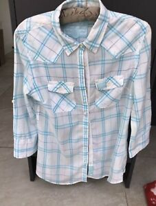 Ladies superdry checked cotton summer shirt / blouse / top size large