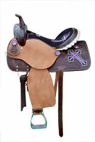 "Western Brown Leather Hand Carved Barrel Racer Saddle 15"" Purple Cross"