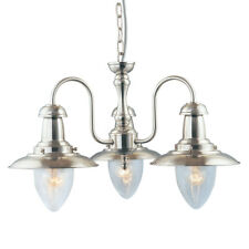 Searchlight 5333-3SS Fisherman 3 Ceiling Pendant Light In Satin Silver