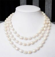 7-8MM Natural White Akoya Cultured Rice Pearl Necklaces 36'' PN574
