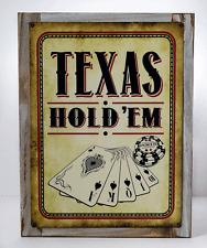 Texas Hold 'Em Vintage Metal Sign Framed on Rustic Wood, Cards, Poker Chip, Gami