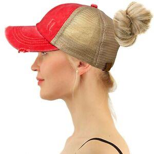 C.C Ponytail Criss Cross Messy Buns Ponycaps Baseball Cap Trucker Hat Red