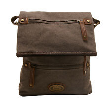 TROOP LONDON -  BROWN DORCHESTER MESSENGER/BODY BAG IN CANVAS-LEATHER