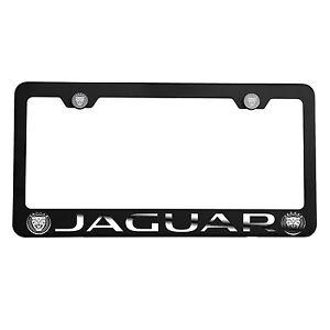Matte Black Laser Etched New Jaguar Mirror License Plate Frame Cover Holder Cap