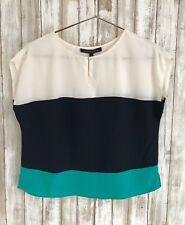 $145 Cynthia Steffe ColorBlock Silk Blouse Top White Navy Turquoise 8 * RARE!