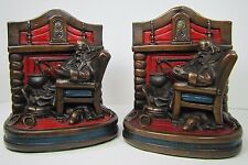 Antique Gentleman Smoking Pipe Reading Fireside Dog Bookends 1920s GS Allen AB