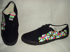 New Mens Adam Duffy Black Multi Check Canvas Sneaker Plimsoll Shoes UK 10 EU 44