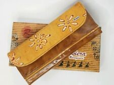 Riviera Marroquinera Travel Carryall Embossed Leather Wallet Browns New