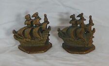 CAST IRON SCHOONER SHIP SAIL BOAT BOOKENDS HAMMERED BASE NAUTICAL VINTAGE