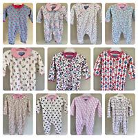 Ex Jojo Maman Bebe Baby Girls Floral Flower Sleepsuits Babygrow NB 3 6 9 12 18