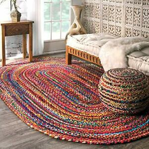 3 x 5 Feet Oval Shaped Multicolor Braided Cotton Carpet Rug for Bedroom, FShip