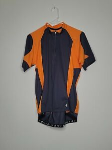 Specialized Men Size L Orange Gray 1/2 Zip Cycling Jersey Polyester