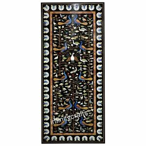 24 Inches Marble Coffee Table Top Semi Precious Gemstones Inlaid Patio Table