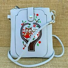Pale Grey Owl Small Cross body Bag with Smart Phone Spectacle Holder Long Strap