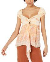 Free People Womens Blouse Light Orange Size Large L La Bamba Babydoll $78 130
