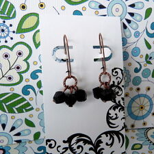 BOHO Vintage Antique Style Black Crystal Cluster Drop Copper Earrings