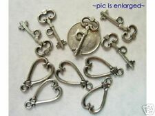 5 Antique Silver Heart and Key Toggle Clasp Clasps
