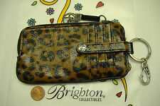 Brighton leopard print twister patent leather wallet phone key ring holder NWT