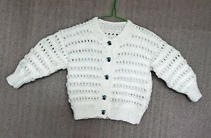 Hand-knitted Round Neck Baby Cardigan in James C Brett to Fit Age:-12 to 18mths